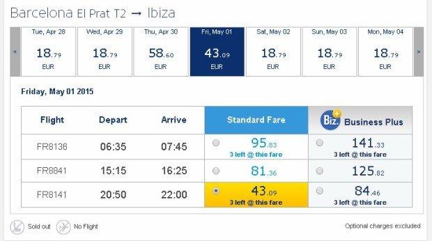 Ryanair Barcelona to Ibiza