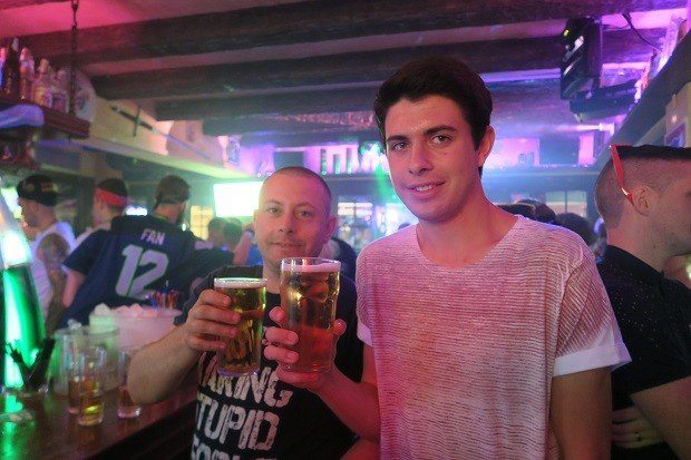 Sam's first pint with his old man at the Highlander Ibiza