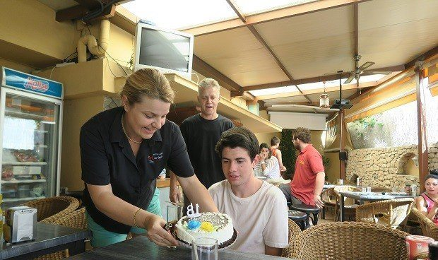 Sam'a surprise birthday cake at the Hostal Marino