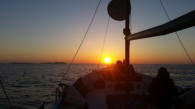 Sunset from Chilli Pepper Charters our favourite boat to relax and escape on