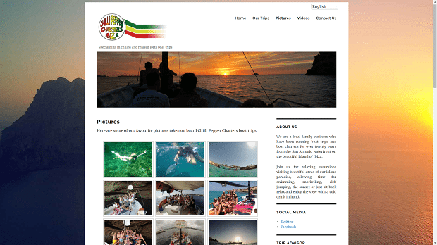 Chilli Pepper Charters new website gallery gives potential customers a real feel of what to expect.