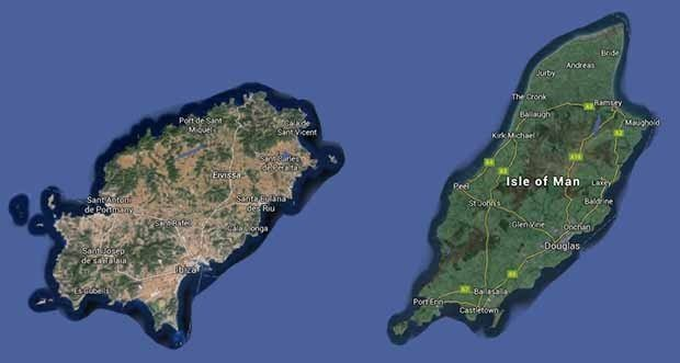 Ibiza and the Isle of Man are nearly identical in size