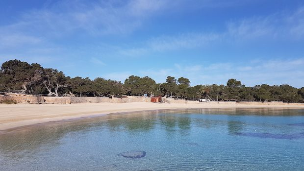 Cala Bassa in April crystal clear waters and deserted