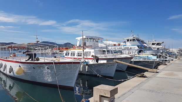 The boats in San Antonio harbour being readied for summer
