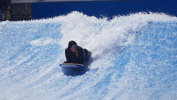 Body Boarding on the Flowrider, Surf Lounge Ibiza