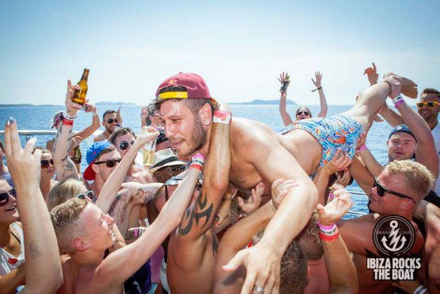 Patrick Nazemi aboard the Ibiza Rocks Boat Party, work hard play hard.