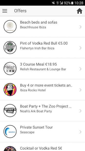 You get great offers and real time deals with the Ibiza 2016 App