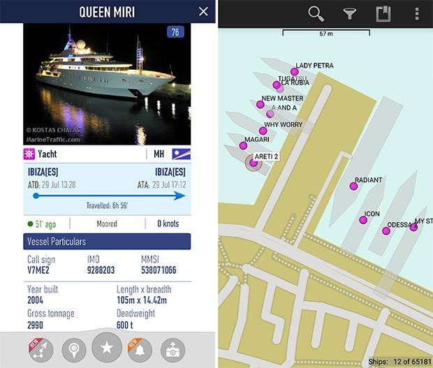 Marine Traffic with a single vessels details and Vessel Finder with a close up of Ibiza Harbour
