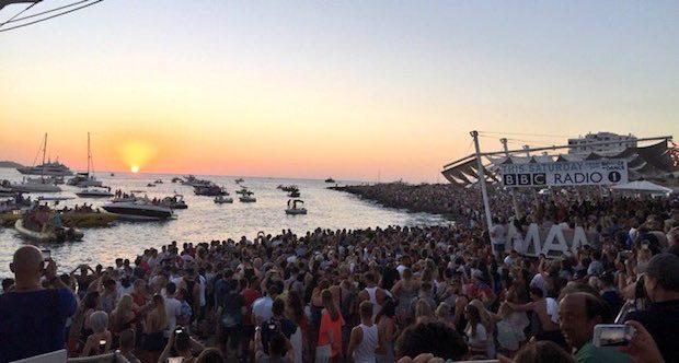 The crowds enjoying Radio 1 from the Sunset Strip San Antonio Ibiza