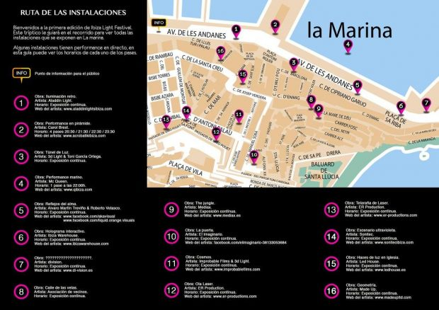 Ibiza Light Festival map of installations - Click for larger version