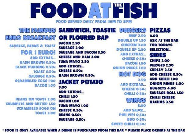 The Fish Ibiza Menu