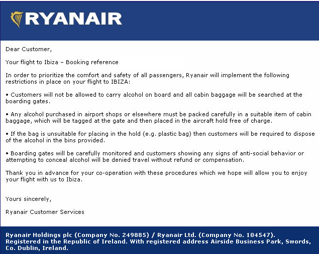 Passenger email for the bristol to Ibiza flight on the 24th July.
