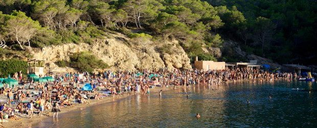 Not a spot to lay out a towel people people everywhere, Ibiza in August